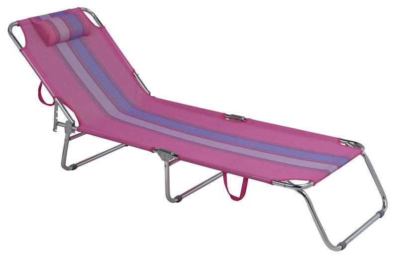 Cadeira Espreguiçadeira Alumínio Rosa Ref 2418Mor