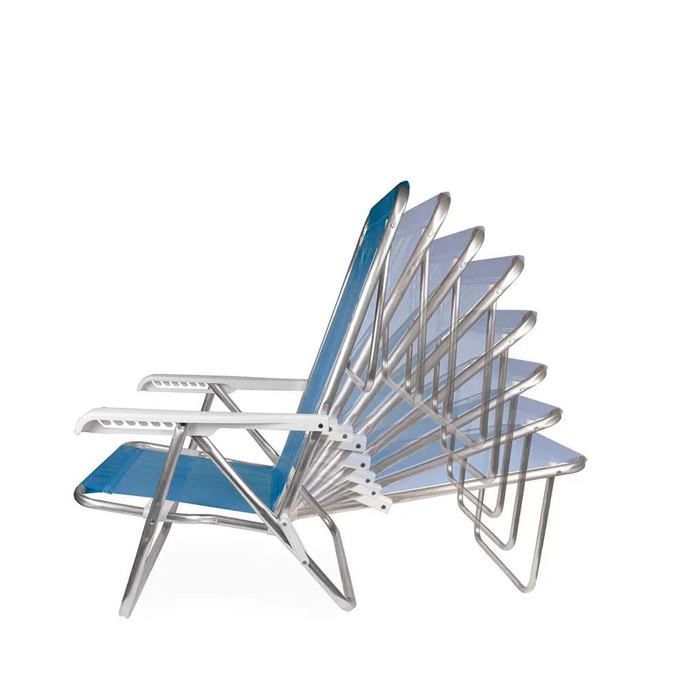 Cadeira de Praia Reclinável Alumínio 8 Posições Azul 2267 Mor