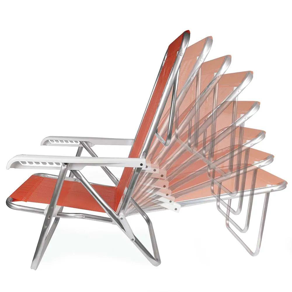 Cadeira de Praia Reclinável Alumínio 8 Posições Coral 2270 Mor