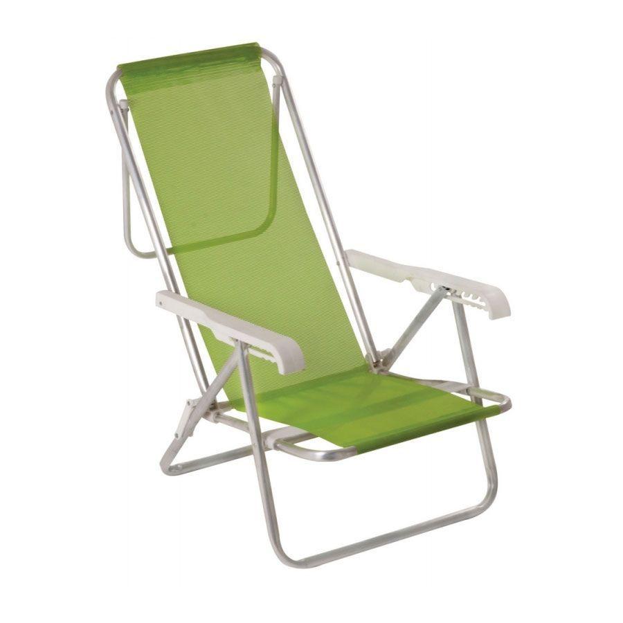 Cadeira de Praia Reclinável Alumínio 8 Posições Verde Maçã 2271 Mor