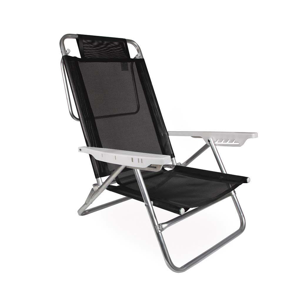 Cadeira Reclinável Sol de Verão Preta Ref 2155Mor