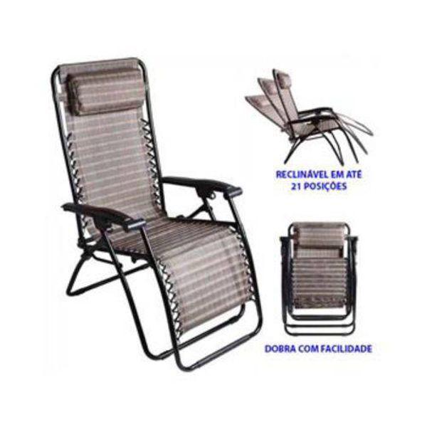 Cadeira de Praia Reclinável Trançada 21 PosiçõesPreta 9147 Mor