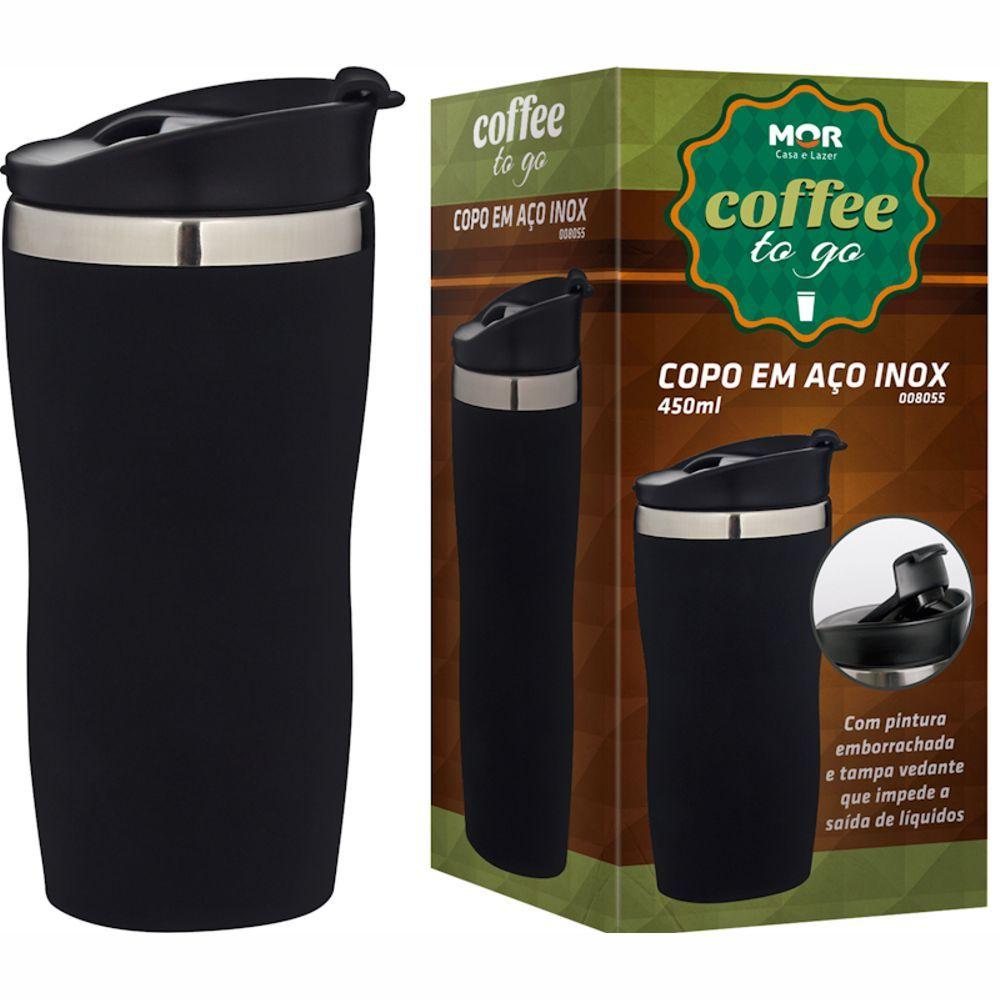 Copo Térmico Aço Inox Emborrachado 450 Ml Coffee To Go Cores Diversas 8055Mor