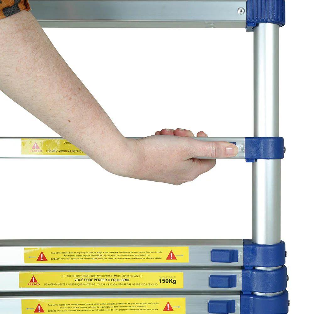 Escada Telescópica Alumínio 10 Degraus 5121 Mor