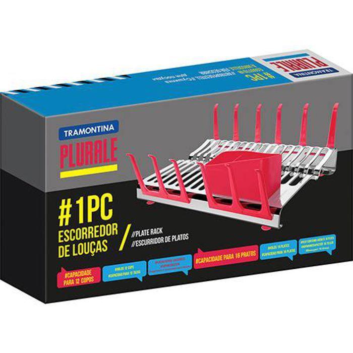 Escorredor de Louça Plurale Vermelho Aço Inox 61535/560 Tramontina