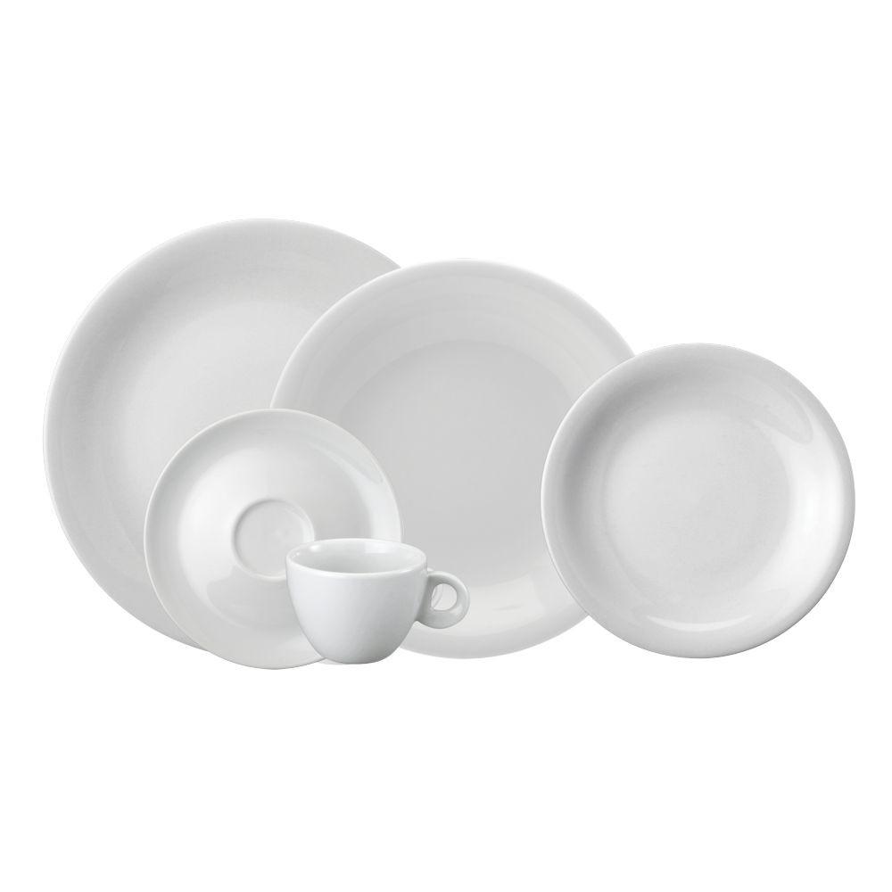 Jogo de Jantar e Chá 30 Peças Branco 998 Schmidt