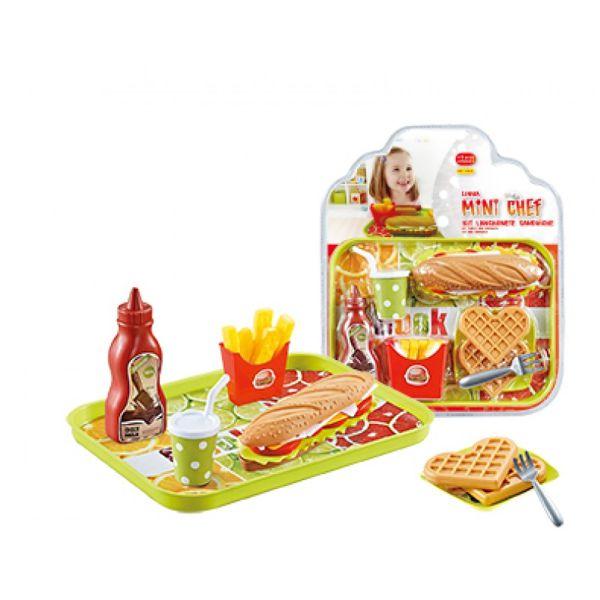 Kit Lanchonete Sanduíche Mini Chef 1145.4 Xalingo