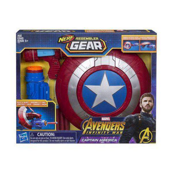 Lançador de Dardos NERF Capitão América Marvel E0567 Hasbro