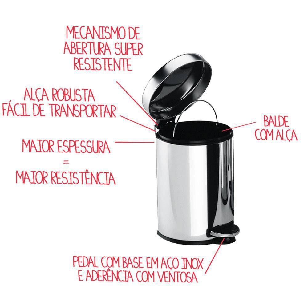 Lixeira Aço Inox 5L com Pedal Decorline 3040/202 Brinox