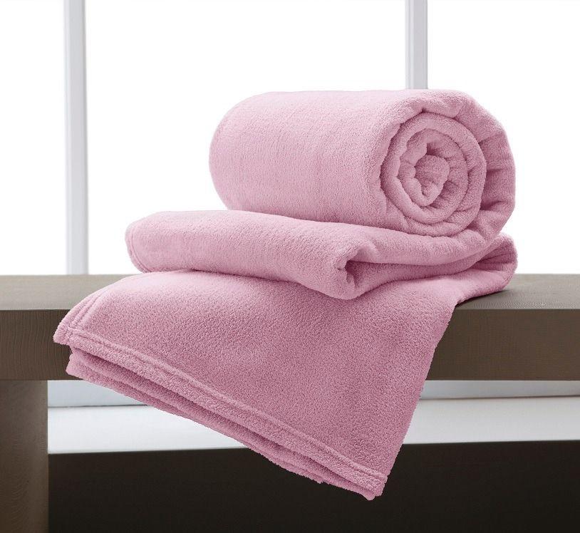 Manta Solteiro Microfibra Home Design Rosa Antigo Corttex