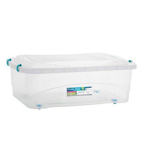 Organizador Pratic Box com Rodas 75 Litros Transparente 728 Paramount