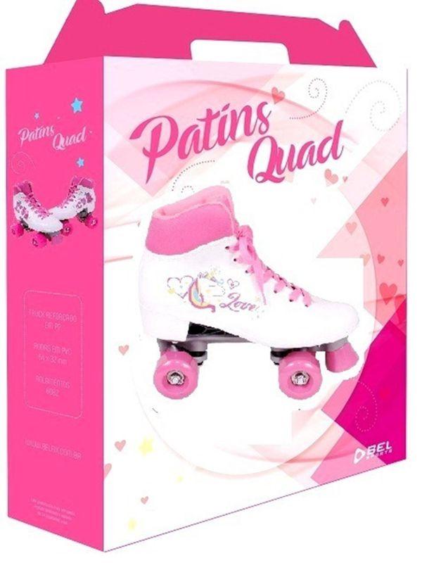 Patins Quad Love Unicórnio 4 Rodas Branco Nº35 373500 Belfix