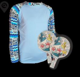 Camisa Infantil em Lycra Piratas Azul com Proteção Solar UV50+