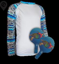 Camisa Infantil em Lycra Piratas Branca com Proteção Solar UV50+