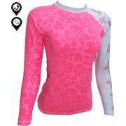 Camisa Lycra Manga Longa Flores Proteção Solar UV UPF 50
