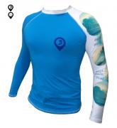 Camisa Lycra Manga Longa Ondas Proteção Solar UV UPF 50+