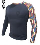 Camisa Lycra Manga Longa Pranchas Preta Proteção Solar UV UPF 50+