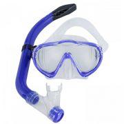 Kit de Mergulho Infantil Máscara e Snorkel Mormaii Oasis Azul