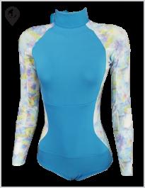 Maiô Lycra Manga Longa Azul Tie Dye com Proteção Solar UV UPF 50+