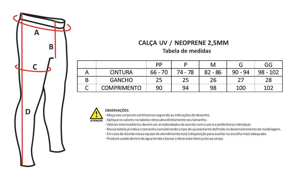 Calça de Neoprene Flex 1.5mm Nob