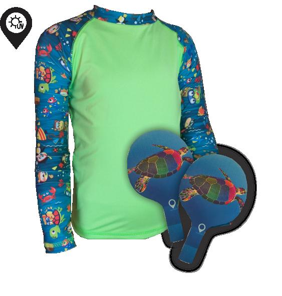 Camisa Infantil em Lycra Fundo do Mar com Proteção Solar UV50+