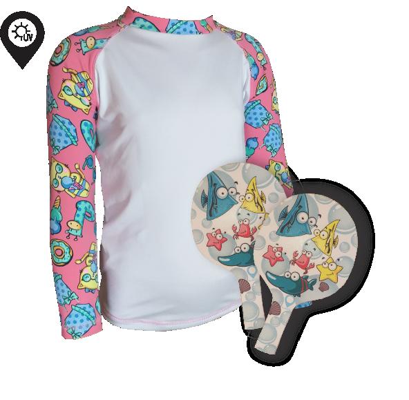 Camisa Infantil em Lycra Gatinha Branca com Proteção Solar UV50+