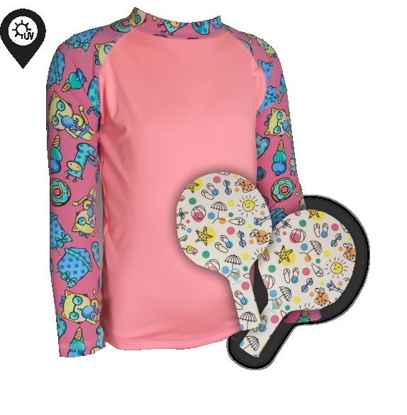 Camisa Infantil em Lycra Gatinha Coral com Proteção Solar UV50+