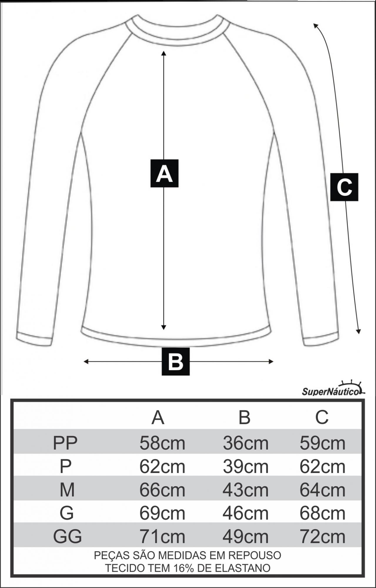 Camisa Lycra Manga Longa Azul Proteção Solar UV UPF 50+