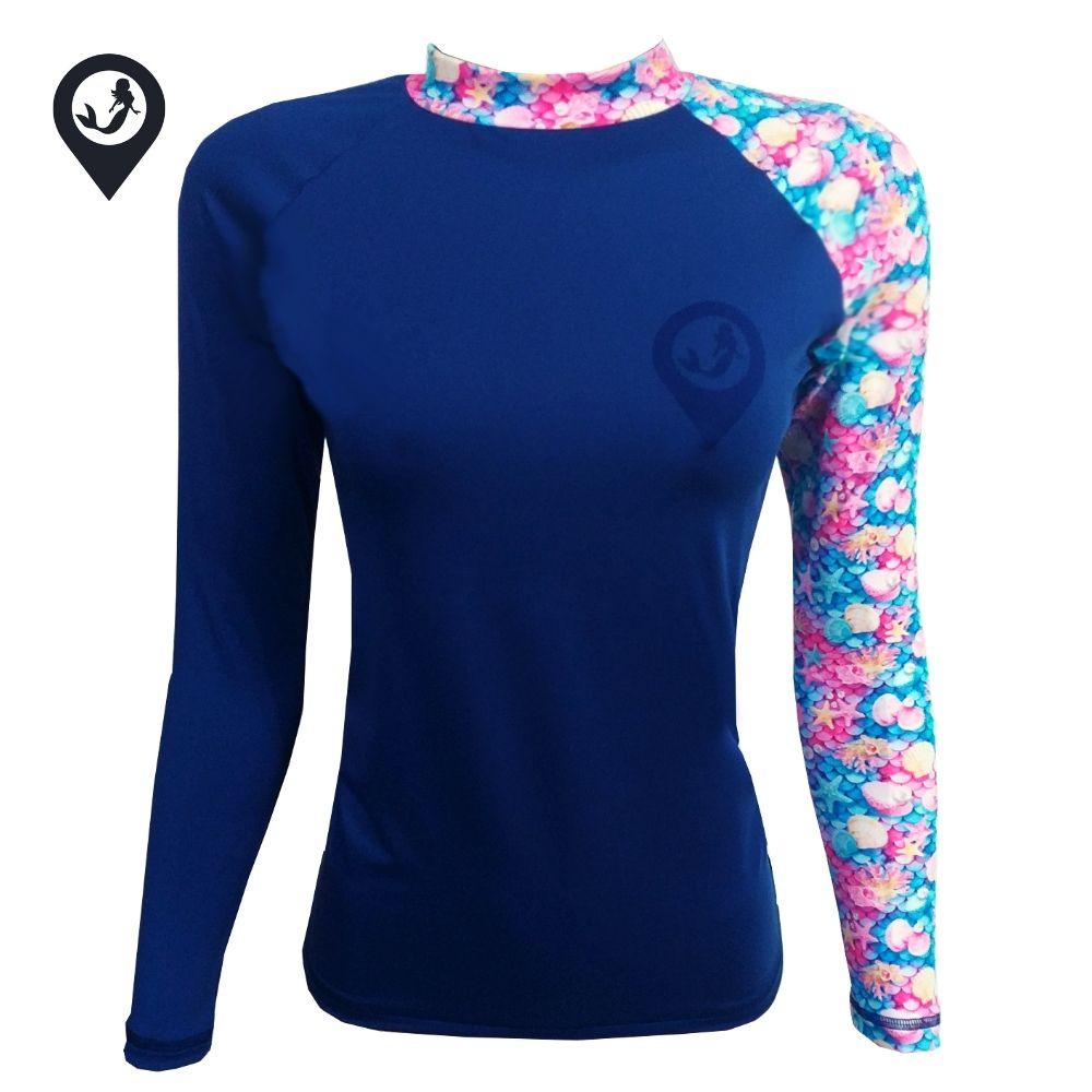 Camisa Manga Longa Azul Sereia Proteção Solar UV UPF 50+