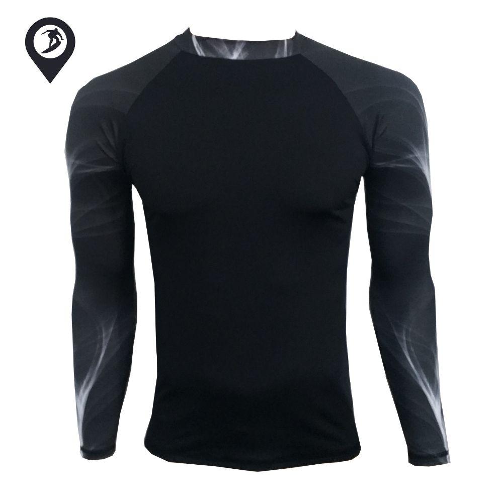 Camisa em Lycra Manga Longa Black Lines Proteção Solar UV UPF 50+