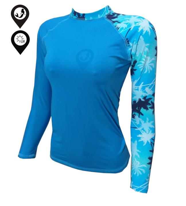 Camisa Lycra Manga Longa Coqueiros Azuis Proteção Solar UV UPF 50+