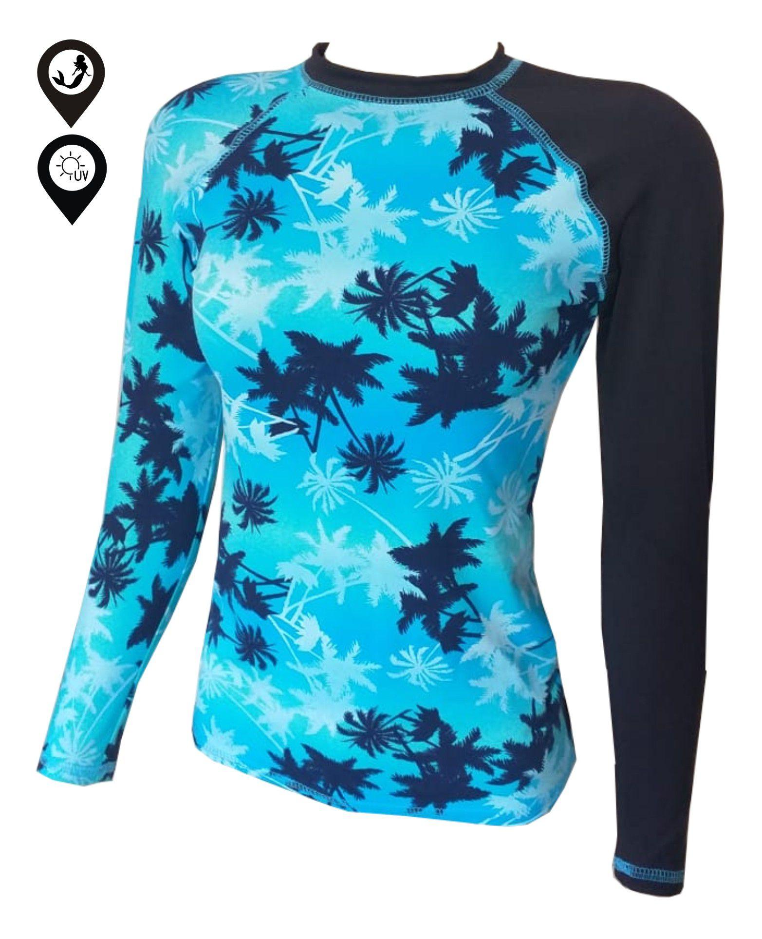 Camisa Lycra Manga Longa Coqueiros Proteção Solar UV UPF 50+
