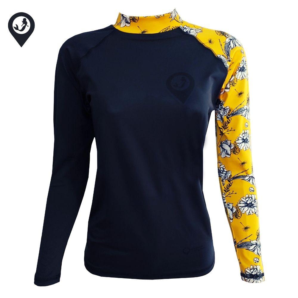 Camisa Lycra Manga Longa Flores Amarelas Proteção Solar UV UPF 50+