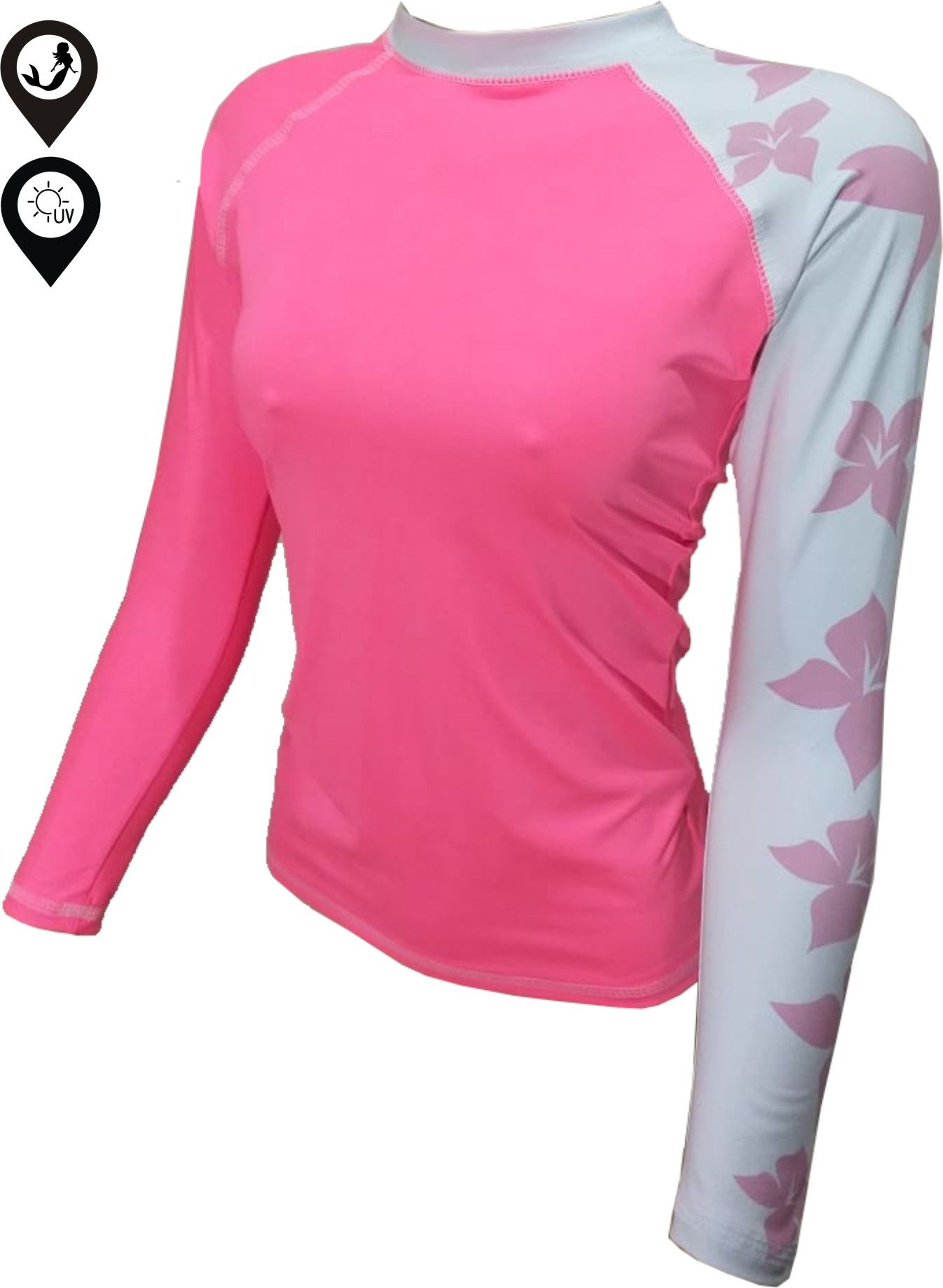 Camisa Lycra Manga Longa Flores Proteção Solar UV UPF 50+