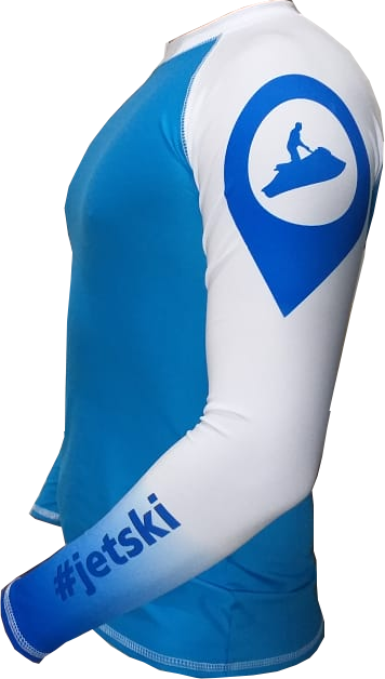 Camisa Lycra Manga Longa Jet Ski Azul Proteção Solar UV UPF 50+