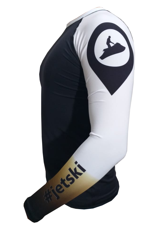 Camisa Lycra Manga Longa Jet Ski Preto Proteção Solar UV UPF 50+