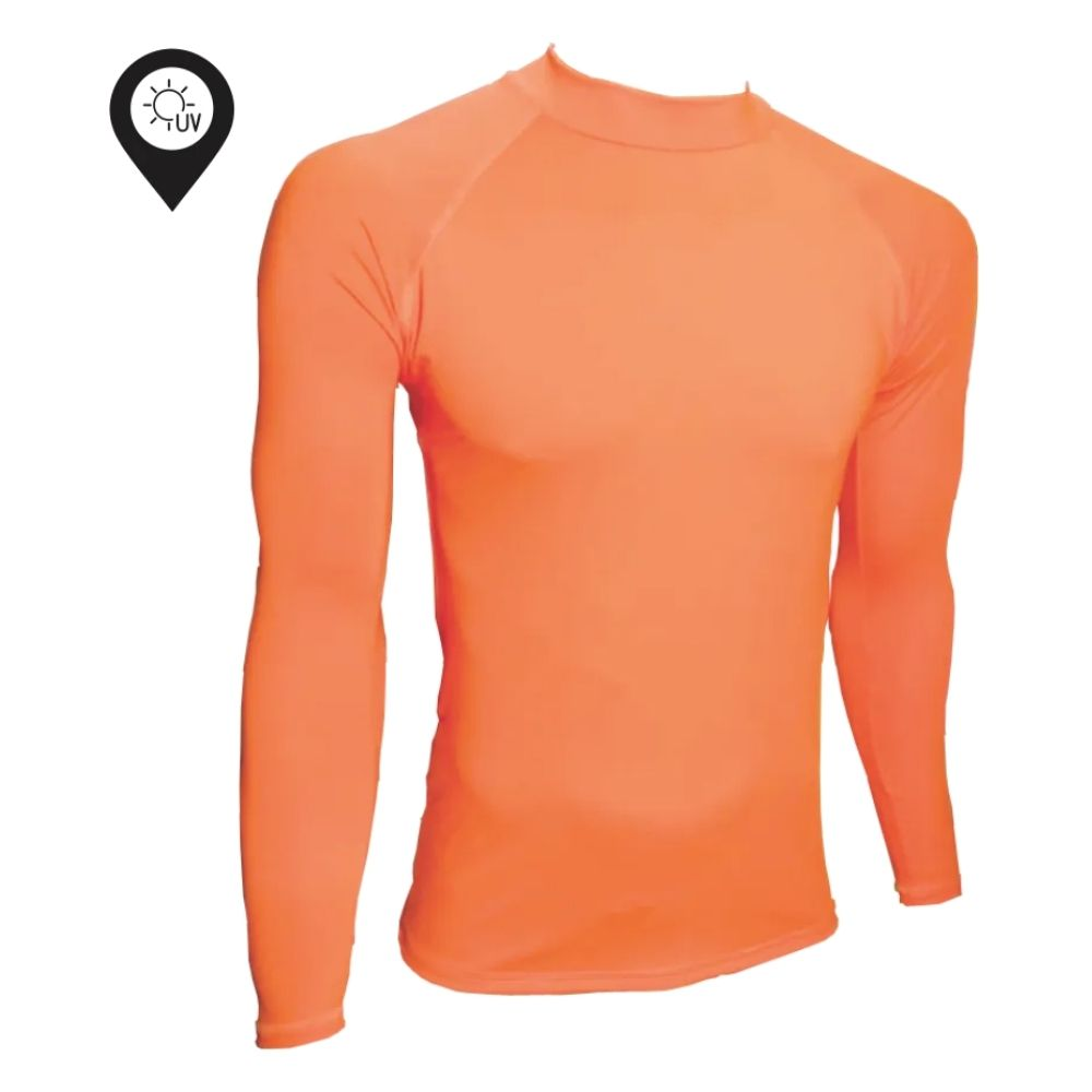 Camisa Lycra Manga Longa Laranja Proteção Solar UV UPF 50+