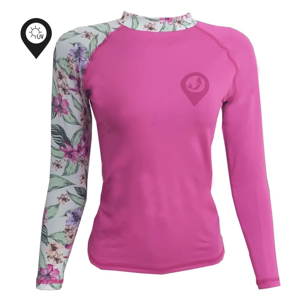 Camisa Lycra Manga Longa Lírios Rosa Proteção Solar UV UPF 50+