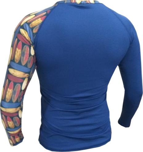 Camisa Lycra Manga Longa Pranchas Azul Proteção Solar UV UPF 50+