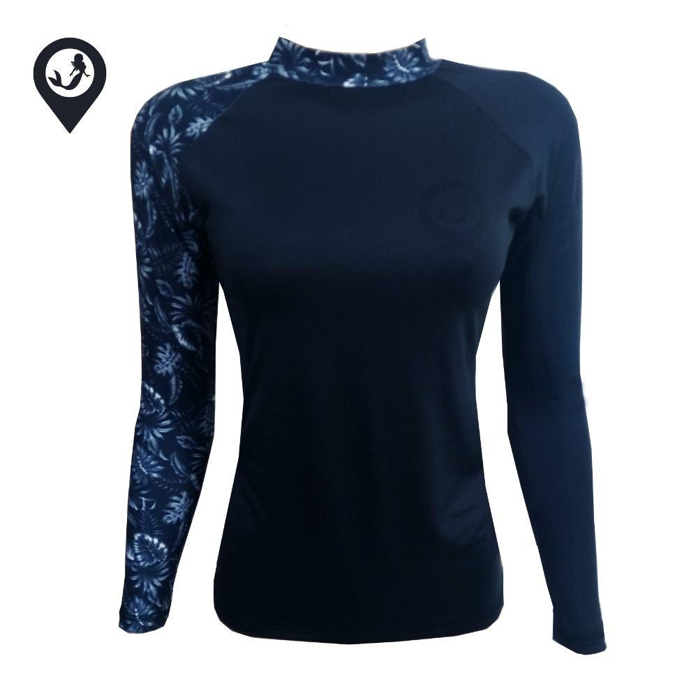 Camisa Manga Longa Preto Folhas Proteção Solar UV UPF 50+