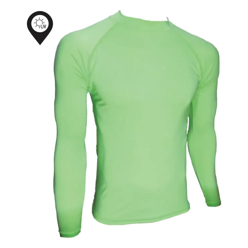 Camisa Lycra Manga Longa Verde Proteção Solar UV UPF 50+