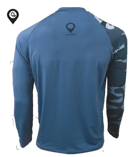 Camiseta Dry Manga Longa Camuflada com Proteção Solar UV 50+