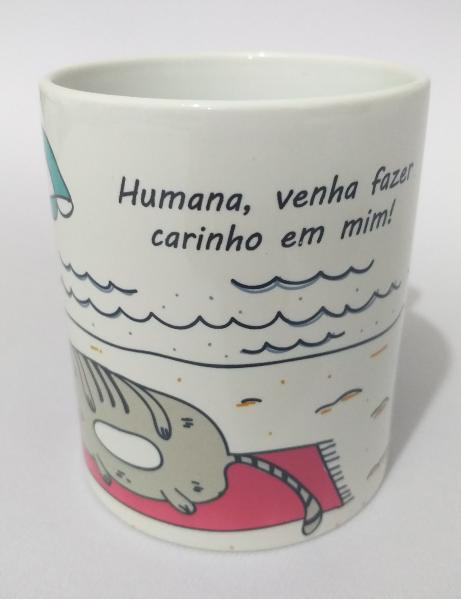 Caneca de Porcelana Sublimada Gato Folgado Pet de Praia