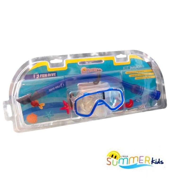Kit de Mergulho Máscara e Snorkel Fun Dive Júnior