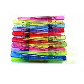 Pacote De Clips Plástico Para Cabelo Com  Glitter Com 12 Peças