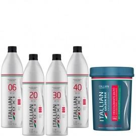 Combo Itallian: Oxidante + Pó descolorante Dust Free Azul - Clareamento Perfeito