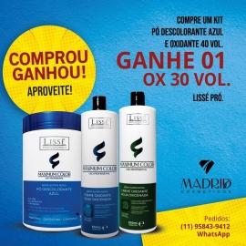 Compre um kit com Pó Descolorante e o Ox vol40 e GANHE 1 Ox vol30 da Lissé Pro Profissional
