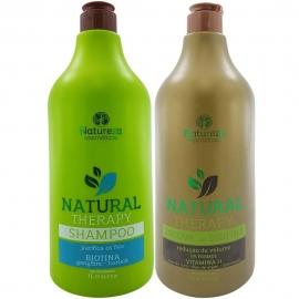 Escova Orgânica Sem formol Biotina - Shampoo 1 litro + Ativo 1 litro Natureza Cosméticos