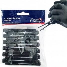 Pacote De Clips Plástico Para Cabelo Com 12 Peças