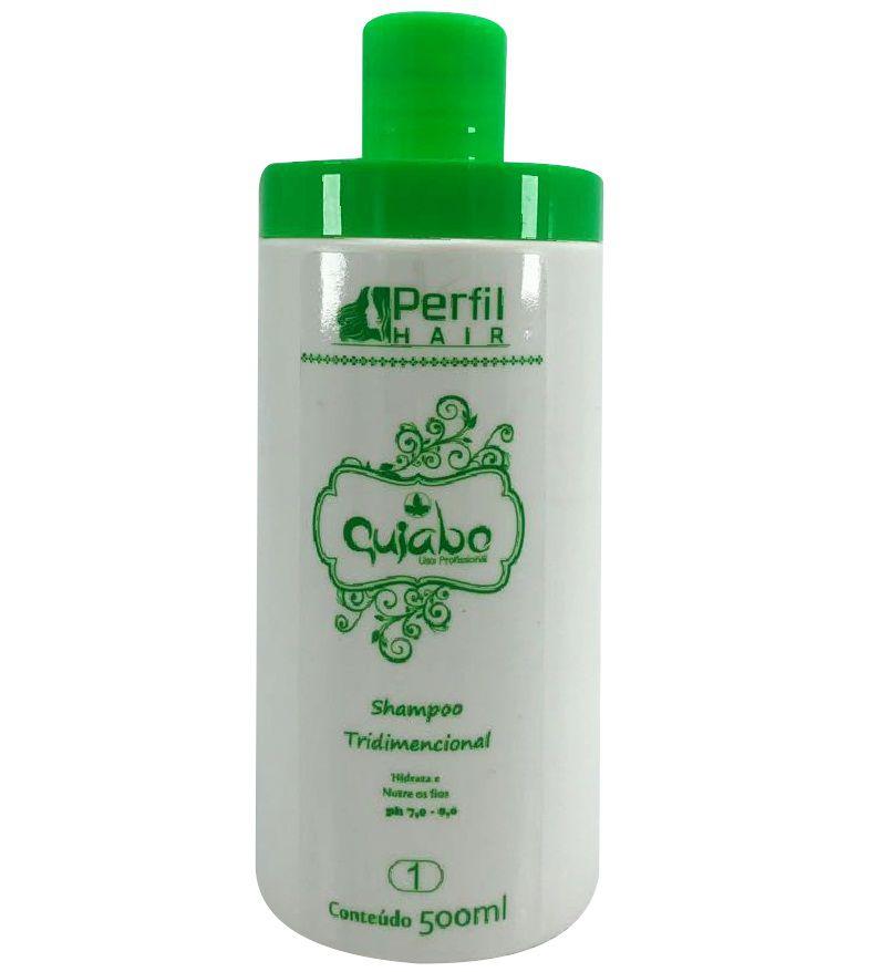 1 Kit Completo Escova De Quiabo Perfil Hair Com Shampoo De 300 ml E Ativo 1 Litro